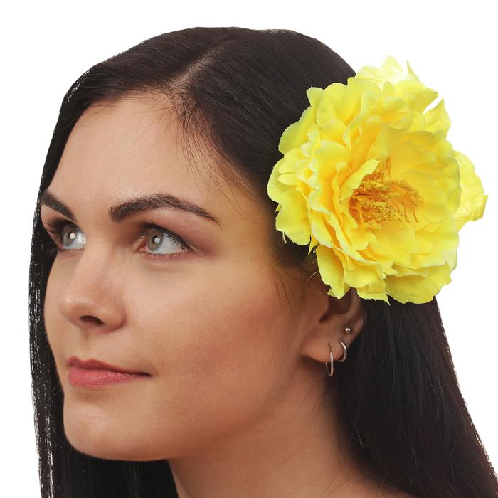 "Зажим ""Пион"", цвет желтый"