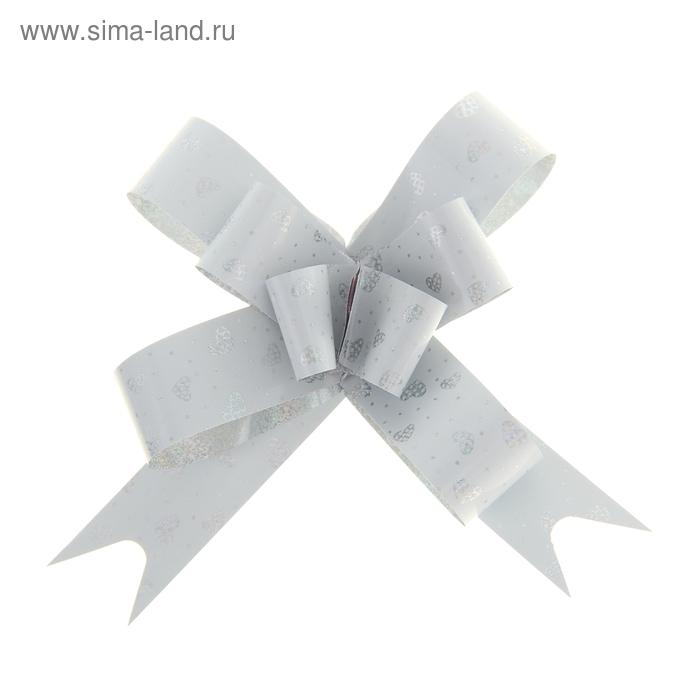 "Бант-бабочка №1,8 ""Сердечки"", цвет белый"