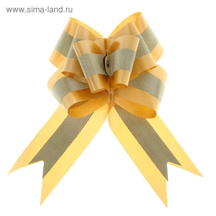 """Бант-бабочка №7 """"Фактурная полоса"""", цвет золотой"""