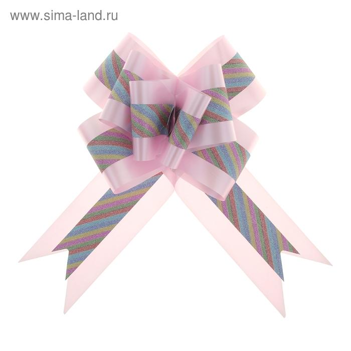 """Бант-бабочка №7 """"Радужные полосы"""", цвет розовый"""