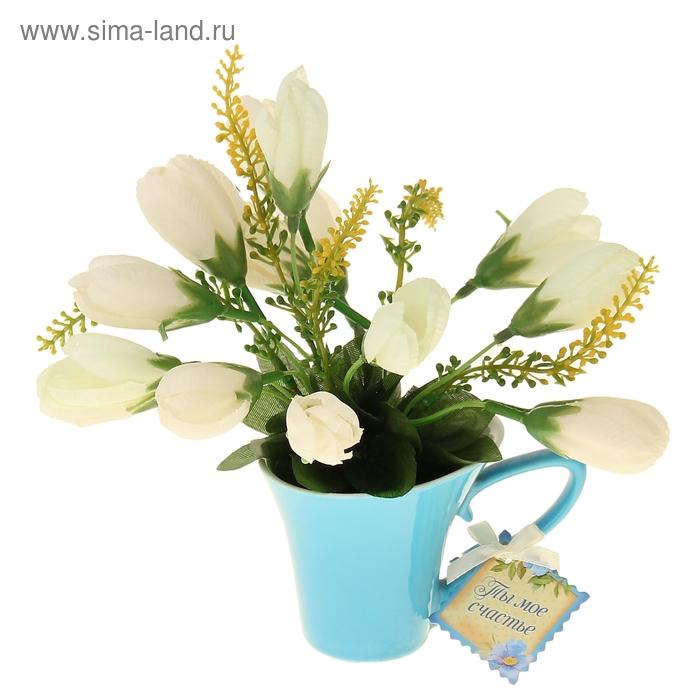 """Декоративный букет в горшке """"Ты мое счастье"""", тюльпаны"""
