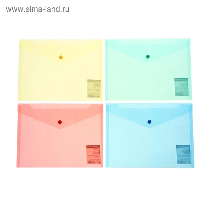 """Папка-конверт на кнопке В5 ENVELOPE """"Диагональ"""", прозрачная, 4 вида МИКС, EK 2993"""