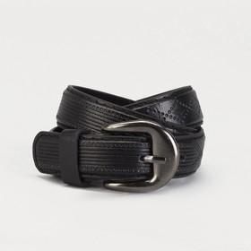 Ремень детский 'Узор', винт, пряжка под металл, ширина - 2см, 70-90 см, цвет чёрный Ош