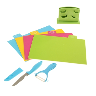 УЦЕНКА Набор, 6 предметов: доска разделочная прямоугольная 4 шт 30х19 см, овощечистка, нож