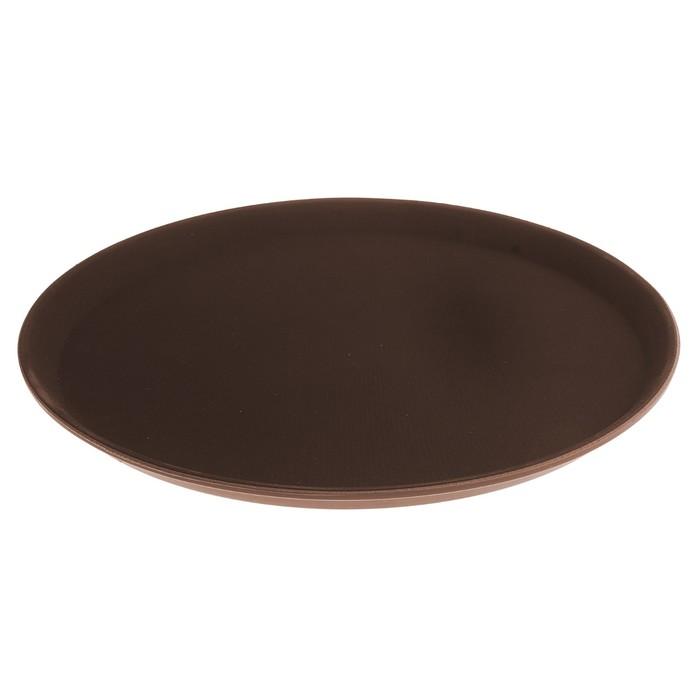 Поднос прорезиненный круглый 35 см, коричневый