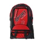 Рюкзак туристический Sport, 1 отдел, 2 наружных и 2 боковых кармана, объём - 26л, чёрный/красный