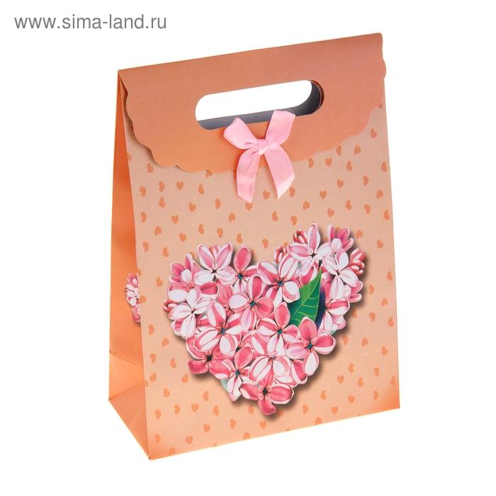 """Пакет с клапаном """"Сердце из цветов"""", цвет оранжевый"""