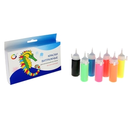 Краска по стеклу витражная, набор 7 цветов x 20 мл, Экспоприбор, аппликация, флуоресцентная