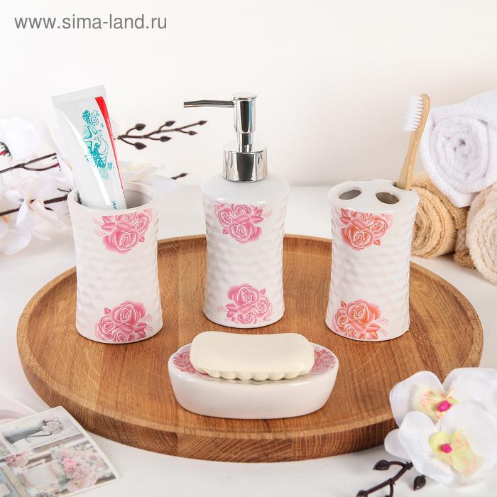 "Set of bathroom accessories, 4 piece ""rose garden"""