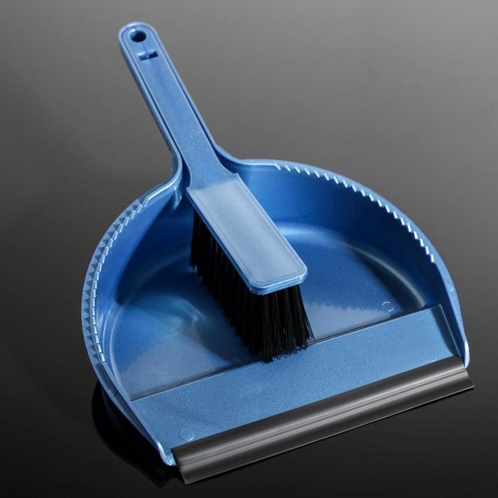 """Набор для уборки """"Лаура"""": совок с кромкой и щётка, цвет МИКС"""