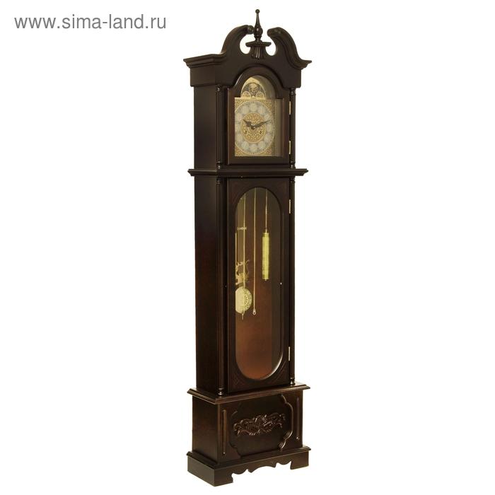 Часы напольные механические с боем, резные со шпилем, цвет дерева венге