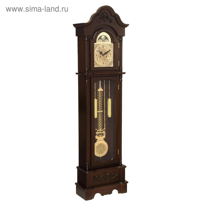 Часы напольные механические с боем, резные, цвет дерева венге