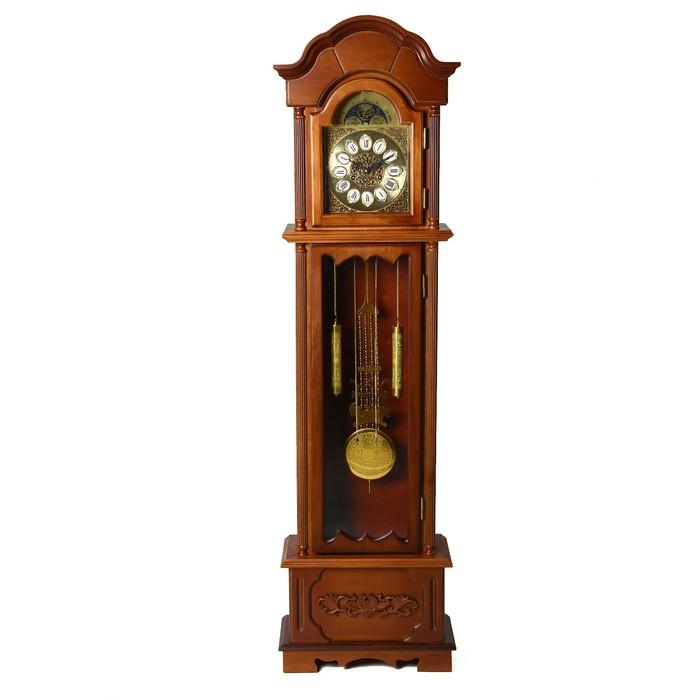 Часы напольные механические с боем, резные, цвет дерева светлый орех