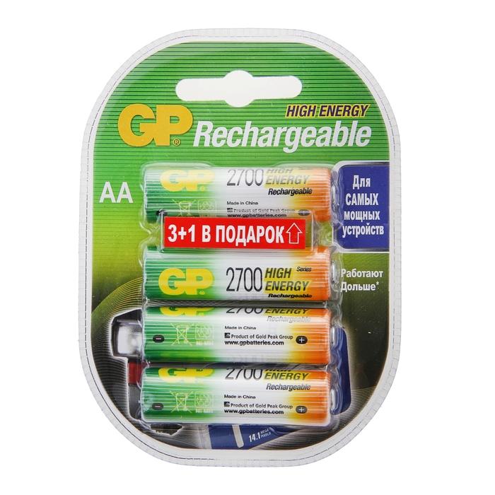 Аккумулятор GP, Ni-Mh, АА, HR6-4BL, 1.2В, 2700 мАч, блистер, 4 шт.