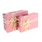 """Набор коробок 2в1 прямоуг """"Полоска"""" (30*21,5*10/26,5*18*8см), нежно-розовый"""
