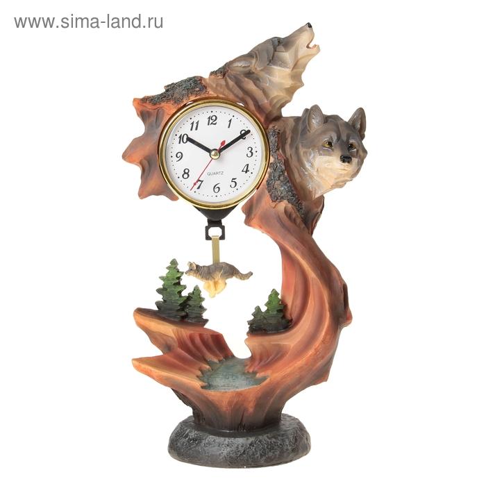 """Часы настольные """"Волк на обрыве"""""""