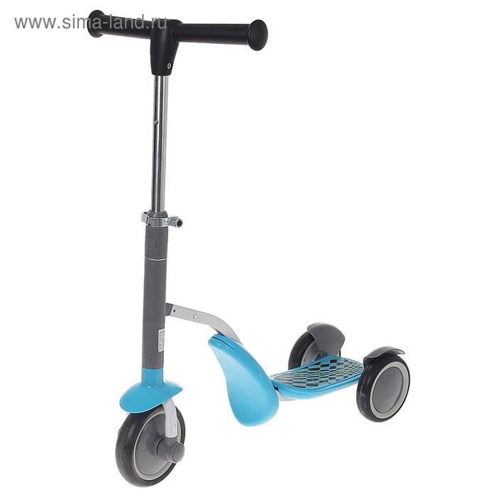 Самокат-каталка стальной S911, три колеса PU, d=150 мм, h=60-77 см, цвет: синий, до 40 кг