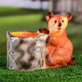 """Фигурное кашпо """"Медведь с пеньком"""" 21х13х17см микс"""