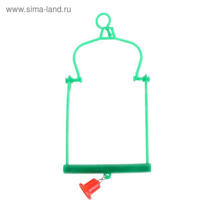 Игрушка для птиц качели с пластиковым колокольчиком