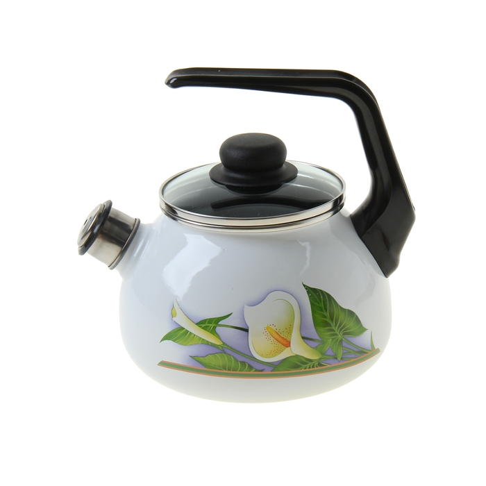 """Чайник 2 л """"Каллы"""", стеклянная крышка, фиксированная ручка"""