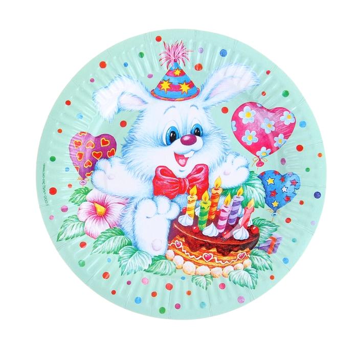 """Тарелка с ламинацией """"Заяц"""", 18 см"""