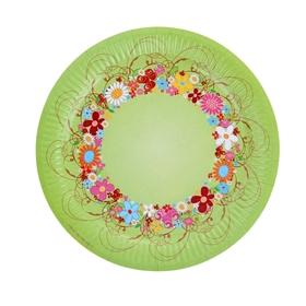 Тарелка с ламинацией 'Цветочный венок', 23 см Ош