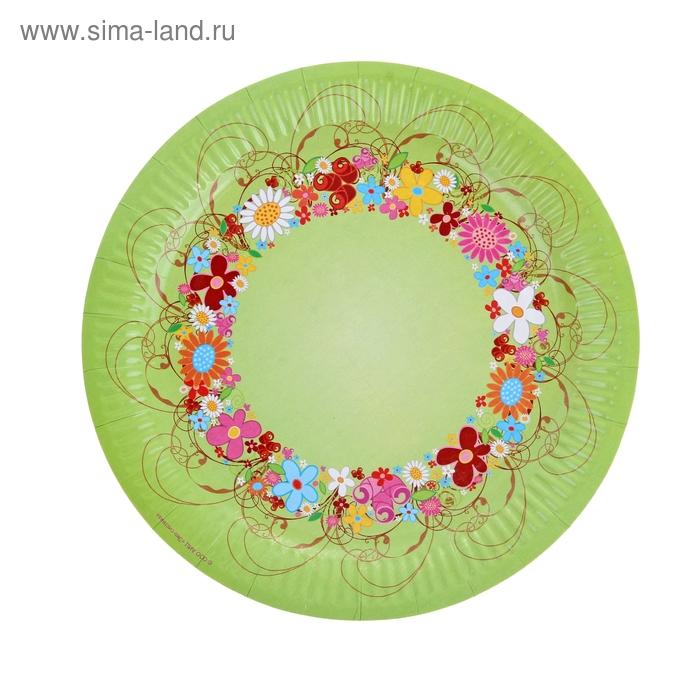 """Тарелка с ламинацией """"Цветочный венок"""", 23 см"""