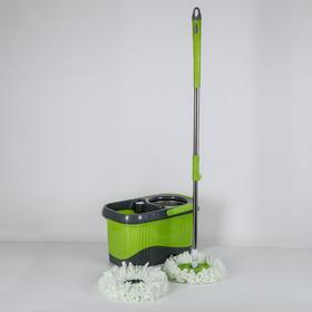Набор для уборки: швабра, ведро с металлической центрифугой 16 л, запасная насадка из микрофибры, дозатор, колёсики, цвет МИКС