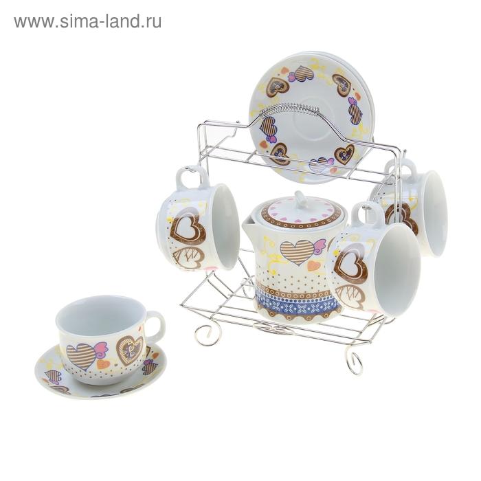 """Сервиз чайный 9 предметов на подставке """"Озорница"""" (чайник 500мл, чашки 150мл) , цвета МИКС"""