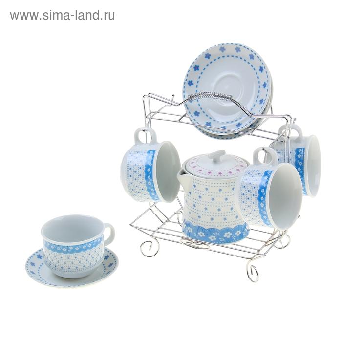 """Сервиз чайный 9 предметов на подставке """"Василиса"""", цвета микс ( чайник 500мл, чашки 150мл)"""