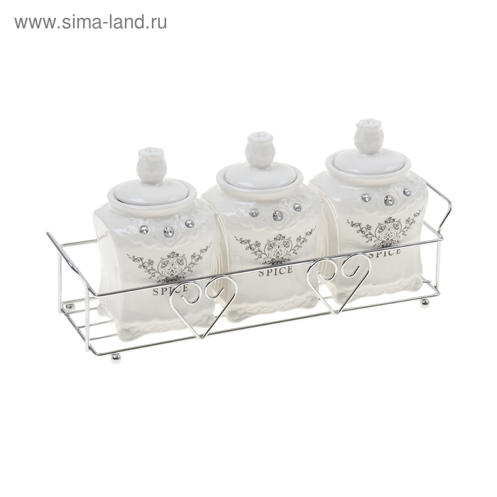 """Набор банок для сыпучих продуктов 150 мл на подставке """"Палаццо Грасси"""", 3 шт"""