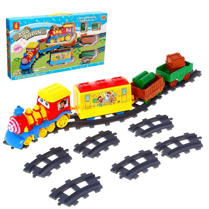 Железная дорога «Веселый паровоз», световые и звуковые эффекты, 28 деталей