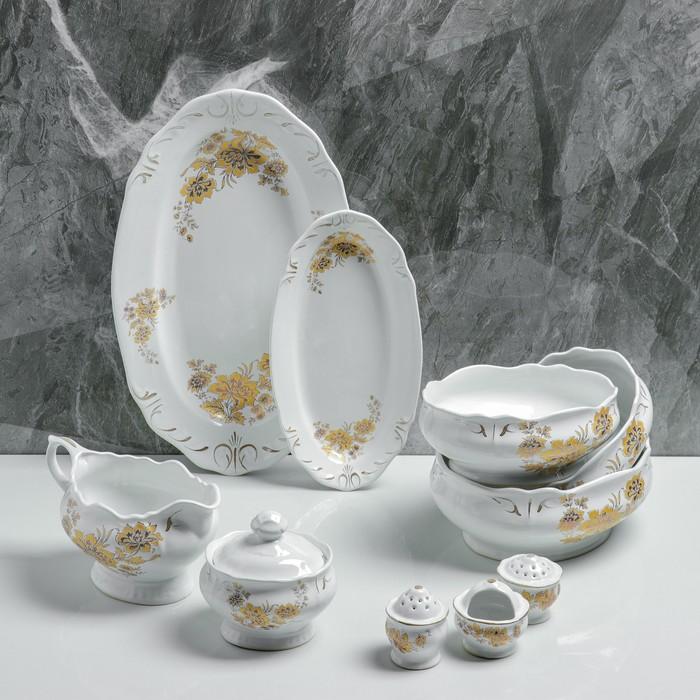"""Сервиз столовый """"Цветы"""", 10 предметов, белый, деколь микс - фото 364040"""