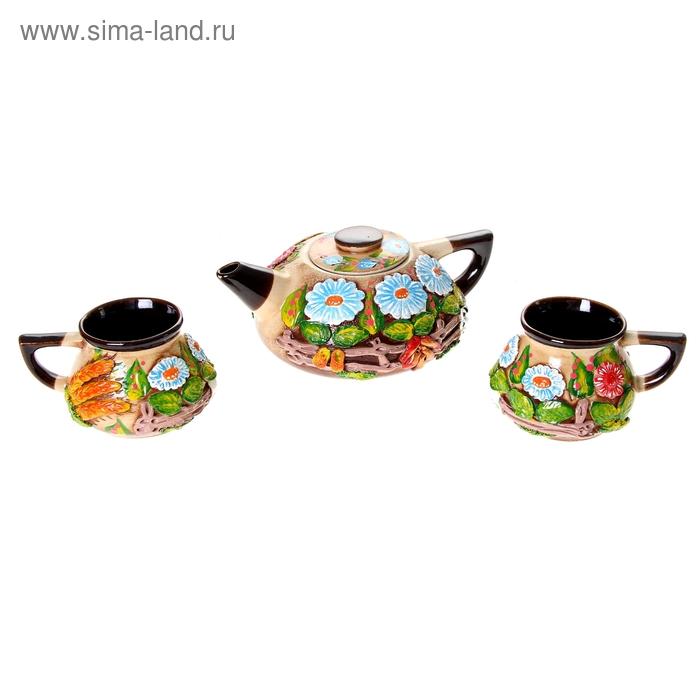 """Набор чайный плоский """"Деревня"""" цветная лепка, 3 предмета, 1 л/ 0,3 л"""