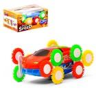 """Машина-перевёртыш """"Гонка"""", двухсторонняя, тройное колесо, световые эффекты, цвета МИКС"""