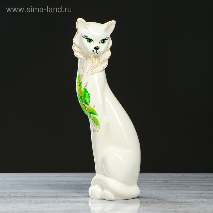 """Копилка """"Кошка Иден"""" белая, рисунок, глазурь"""