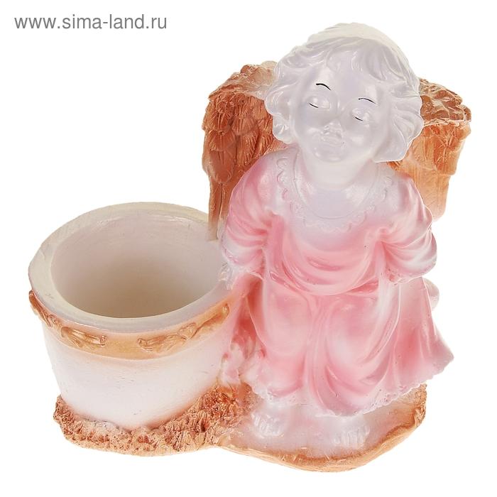 """Фигурное кашпо """"Ангел"""" бело-розовое"""