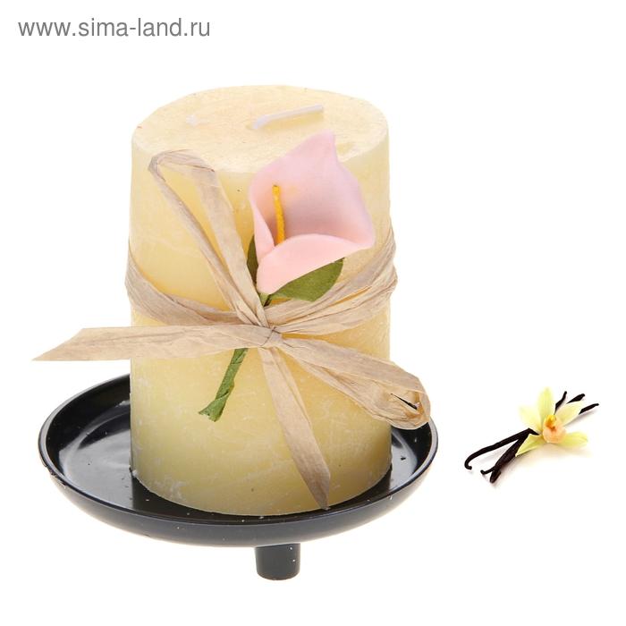 """Свеча восковая на подставке """"Иней"""", аромат ваниль"""