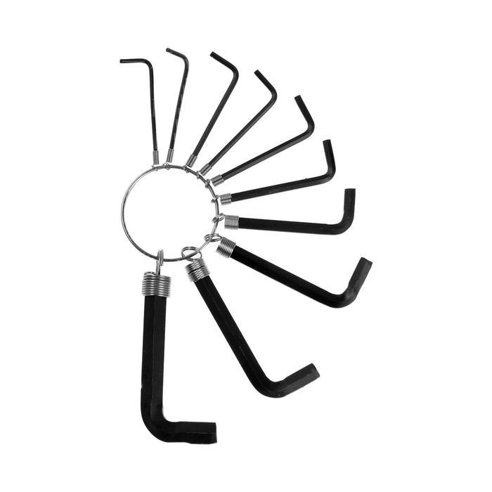 Набор ключей шестигранников TUNDRA basic, 1.5 - 10 мм 10 штук на кольце, удлиненные