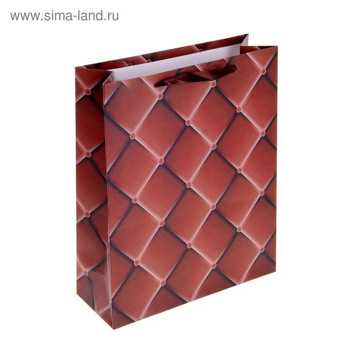 """Пакет ламинированный """"Ромбики"""", цвет коричневый"""