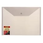 Папка-конверт с кнопкой А4, Clear Bag 200мкм, полупрозрачная серая