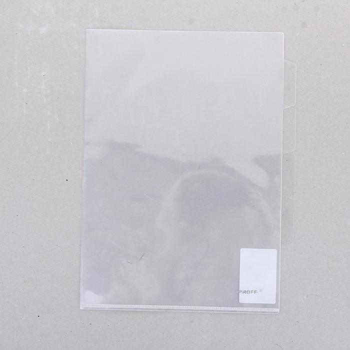 Папка-уголок A4, с тремя отделениями прозрачная 0,18мм