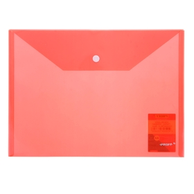 Папка-конверт с кнопкой А4, Clear Bag 200мкм, полупрозрачная красная Ош