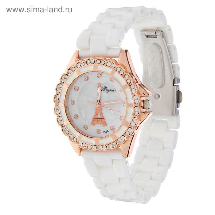 """Часы женские белые, """"Париж"""", обод со стразами, микс"""