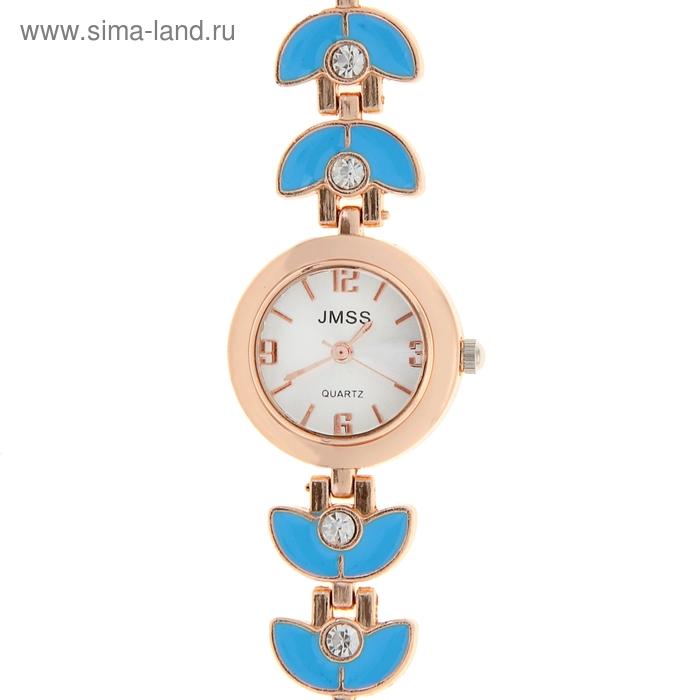Часы наручные женские, золотисто-голубой браслет микс