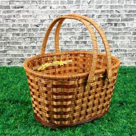 Корзина «Пикник», с 2-мя цельнокроенными ручками, 36х28 см, Н=22/38 см, бамбук, сыть Ош