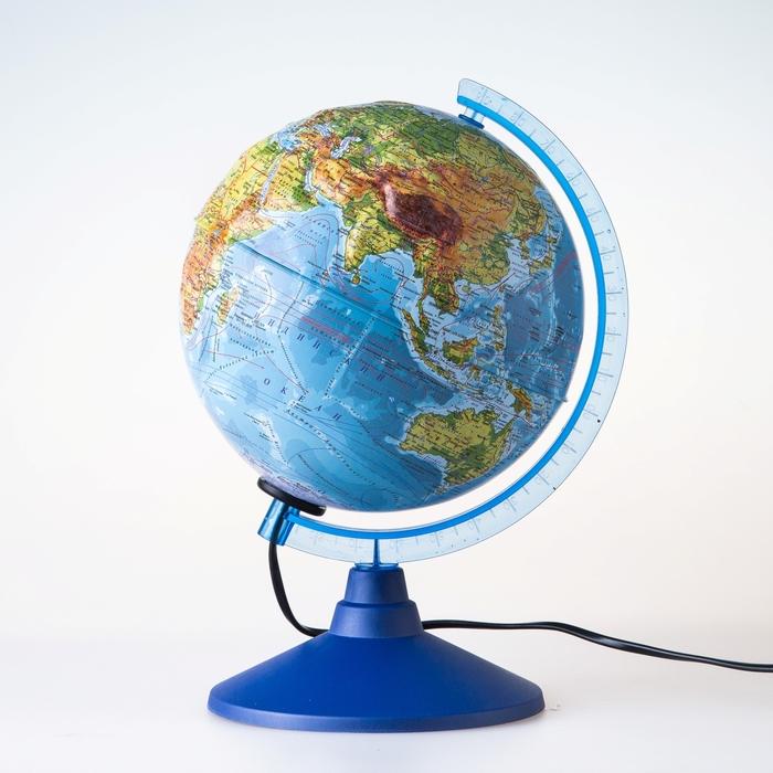 Глобус физико-политический рельефный «Классик Евро», диаметр 210 мм, с подсветкой