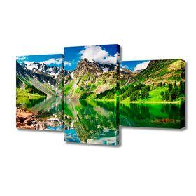 "Картина модульная на подрамнике ""Горное озеро"" 26х50см; 26х40см; 26х32см     50*80см"