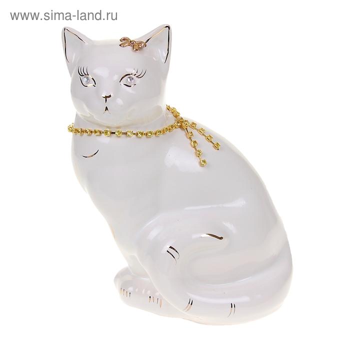 "Копилка ""Кошка Мурка"" цепочка, глянец, белая"
