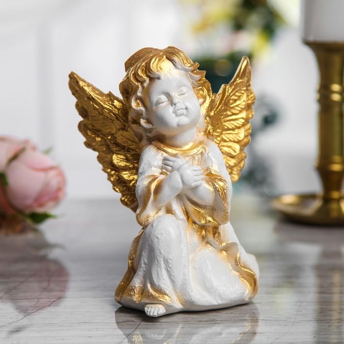 """Сувенир """"Ангел сидящий"""" 17 см, белый с золотом"""